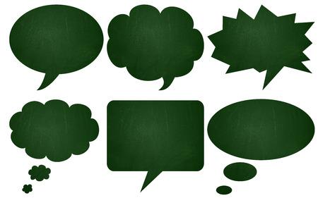 green chalkboard: Green chalkboard textured speech bubbles Stock Photo