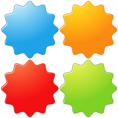 Set of four glossy star shaped badges photo