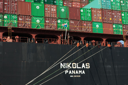 Nikolas cargo ship, being loaded with containers