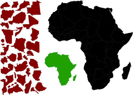 Political Map of Africa vector with various outlines options - Per country, the entire continent and countries over continent.
