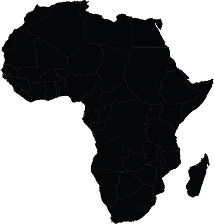 Map of Africa vector with country borders Stock Illustratie