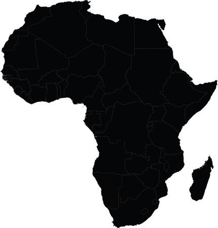 continente: Mapa de África del vector con las fronteras del país