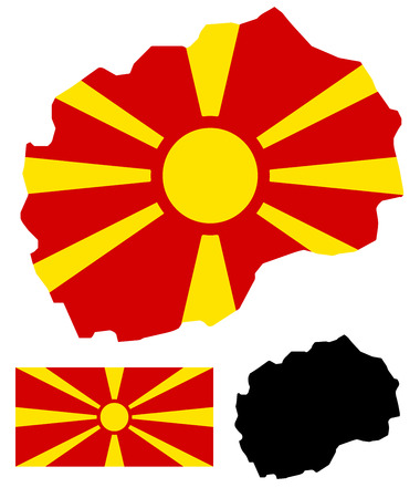 macedonia: Macedonia map and flag vector