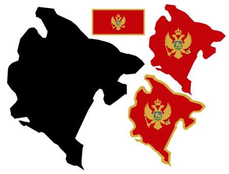 montenegro: Montenegro map and flag vector Illustration
