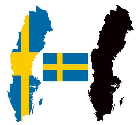 sweden map: Sweden map and flag vector