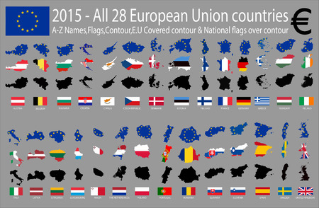 all european flags: 2015 - All 28 European Union countries, A-Z Names,Flags,Contour,E.U Covered contour & National flags over contour