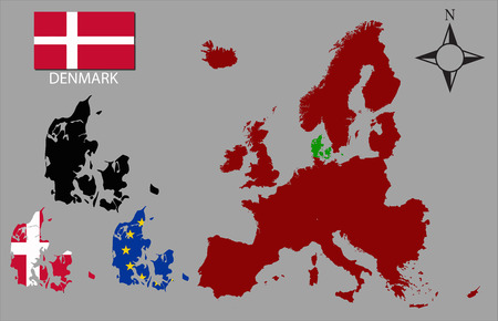 contours: Denmark - Three contours, Map of Europe and flag vector Illustration