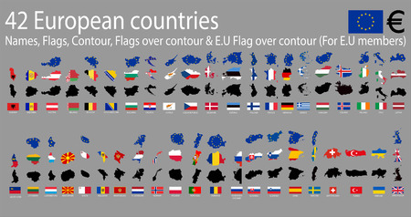 european countries: 42 European  countries, A-Z Names,Flags,Contour,E.U Covered contour & National flags over contour Illustration