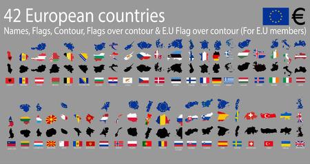42 European  countries, A-Z Names,Flags,Contour,E.U Covered contour & National flags over contour Vettoriali