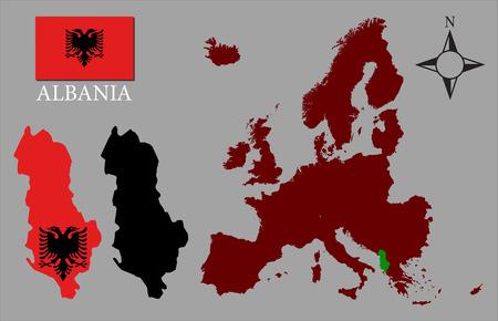 albanie: Albanie - Deux contours, Carte de l'Europe et vecteur de drapeau Illustration