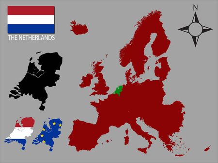 contours: The Netherlands - Three contours, Map of Europe and flag vector