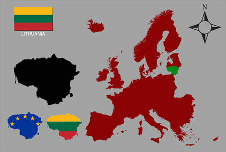 contours: Lithuania  - Three contours, Map of Europe and flag vector Illustration