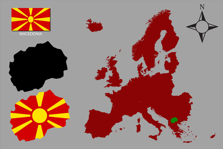 contours: Macedonia - Tow contours, Map of Europe and flag vector