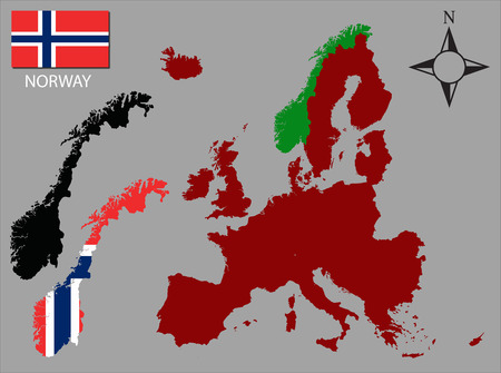 contours: Norway - Two contours, Map of Europe and flag vector