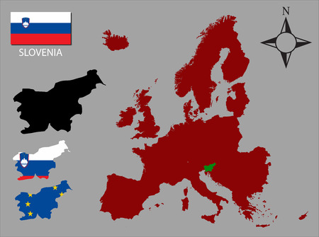 contours: Slovenia - Three contours, Map of Europe and flag vector