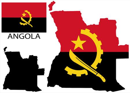 angola: Angola - Map and flag vector