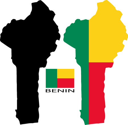 benin: Benin - Map and flag vector Illustration