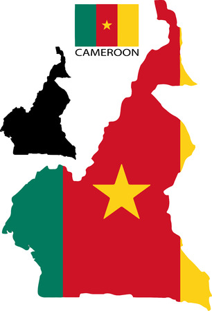 cameroon: Cameroon - Map and flag vector
