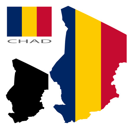 chad: Chad - Map and flag vector