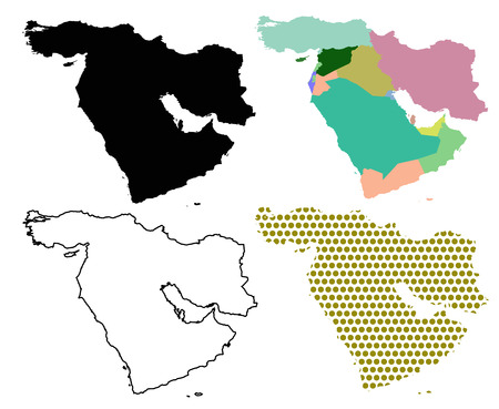 east: Four Vector maps of The Middle East