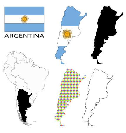 bandera argentina: Argentina - Bandera, cuatro contornos mapa vectorial y Am�rica del Sur mapa Vectores