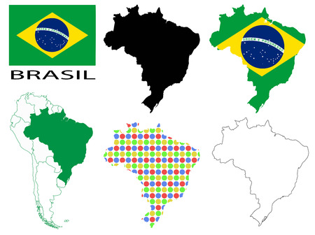 contours: Brazil - Flag, four vector map contours and South America map