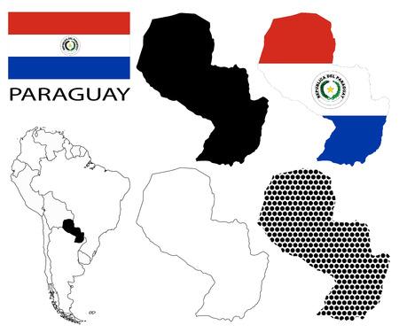 bandera de paraguay: Paraguay - Bandera, cuatro contornos mapa vectorial y Am�rica del Sur mapa