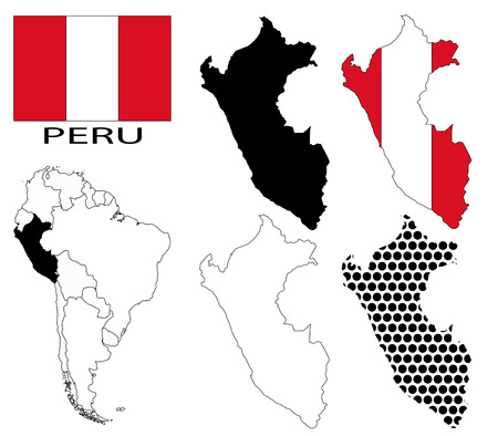 contours: Peru - Flag, four vector map contours and South America map
