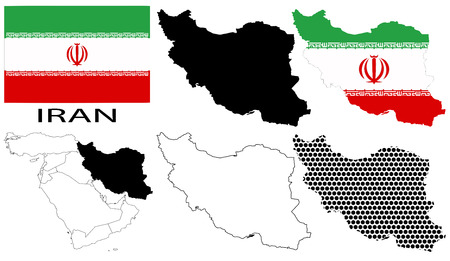 gulf: Iran - Flag, four vector map contours and Middle East map Illustration
