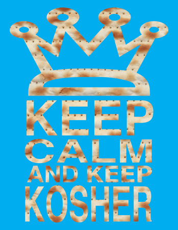 matzo: Traditional Jewish holiday - Passover - Keep calm and keep Kosher written with Matzo letters