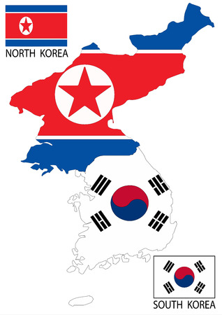 pyongyang: North and South Korea Vector maps and flags