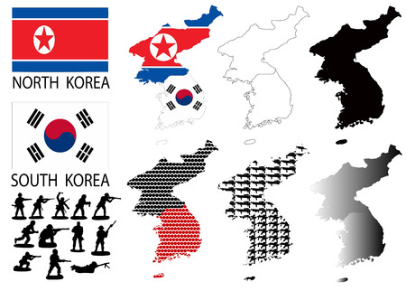 North and South Korea Vector maps and flags with war theme Çizim