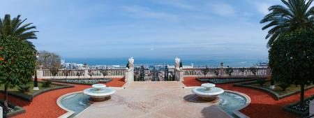 baha: The Bahai Temple and gardens in Haifa, Israel Stock Photo