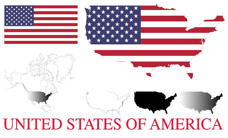 north america map: USA four vector maps, flag and detailed north america map