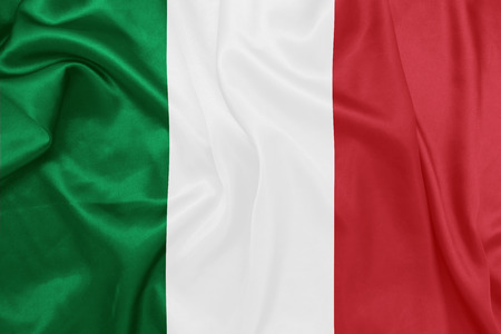 Italy - Waving national flag on silk texture
