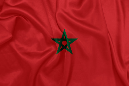 fabric texture background: Morocco - Waving national flag on silk texture