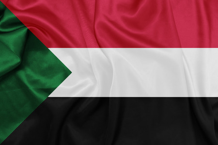 sudan: Sudan - Waving national flag on silk texture