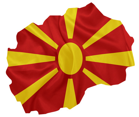 macedonian flag: Macedonia - Waving national flag on map contour with silk texture
