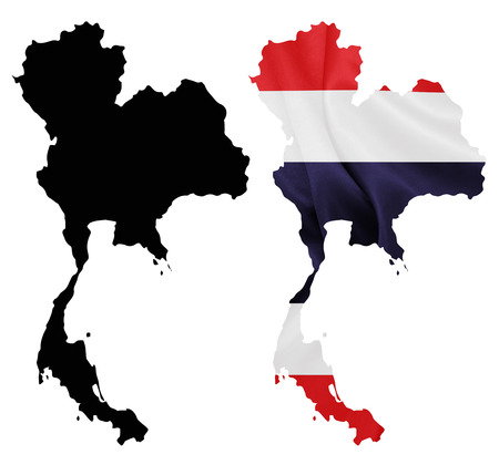 Thailand - Waving national flag on map contour with silk texture