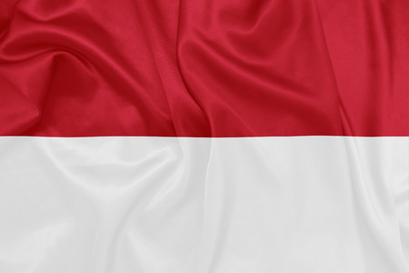 national flag indonesian flag: Indonesia - Waving national flag on silk texture