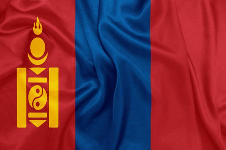 mongolia: Mongolia - Waving national flag on silk texture Stock Photo