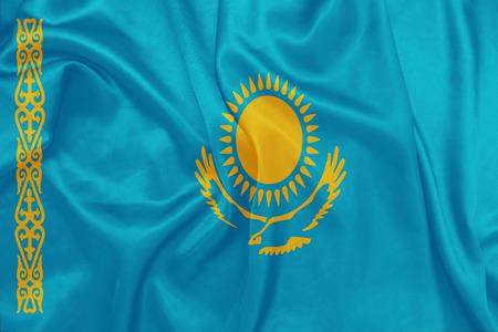kazakhstan: Kazakhstan - Waving national flag on silk texture