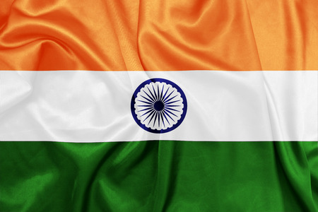 national flag: India - Waving national flag on silk texture