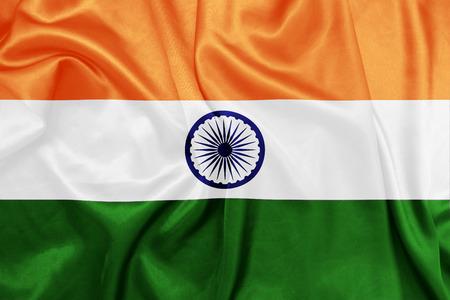 indische muster: Indien - Wehende Nationalflagge auf Seide Textur