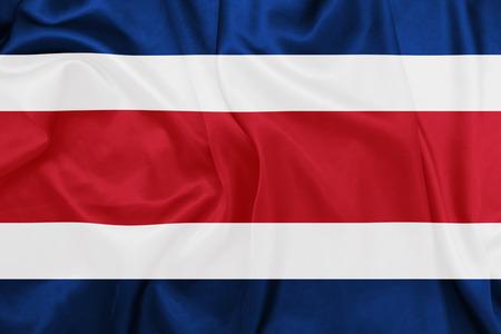 rican: Costa Rica - Waving national flag on silk texture