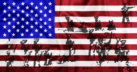 Verenigde Staten van Amerika - Zwaaien nationale vlag op zijde textuur met slagveld thema
