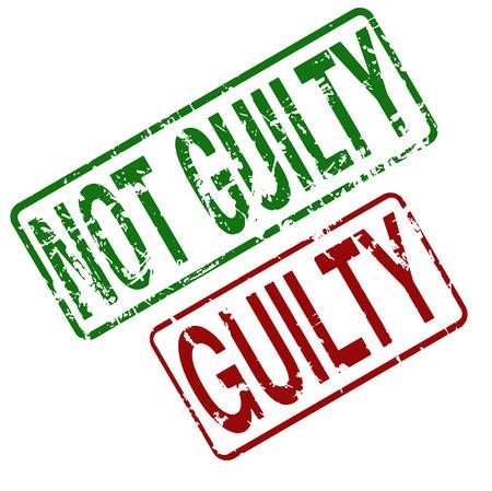 Guilty Not Guilty - vettore timbro di gomma con stile grunge