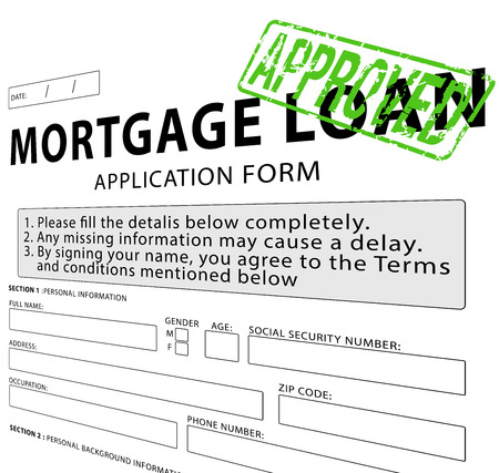 Mortgage loan application form with Approved rubber stamp Banco de Imagens - 38059841