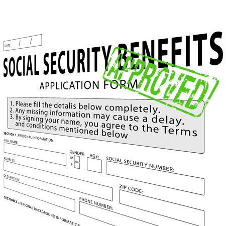 Social security application form with green approved rubber stamp Banco de Imagens - 38116548