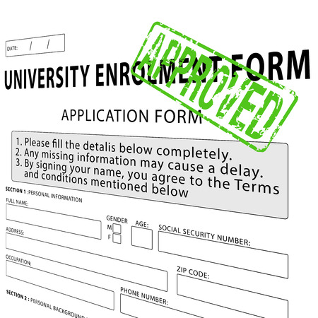 University enrollment form with green approved rubber stamp